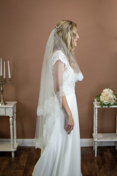 Tamsin – two tier fingertip length veil with Chantilly lace edging