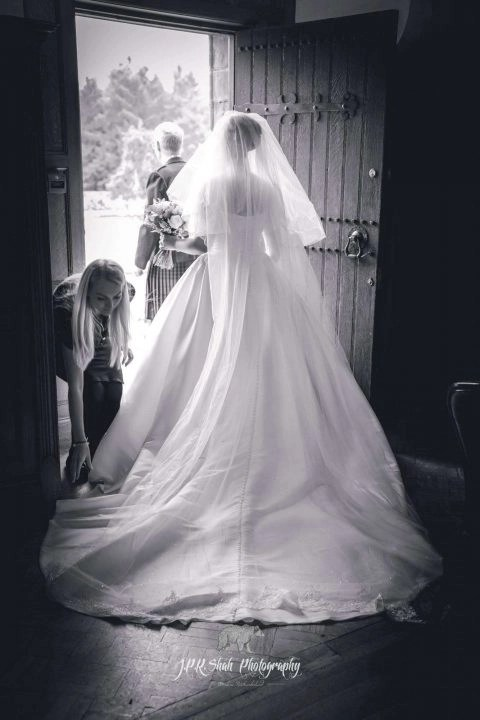 """Tyne cathedral veil with """"Grace"""" lace in ivory shimmer tulle"""