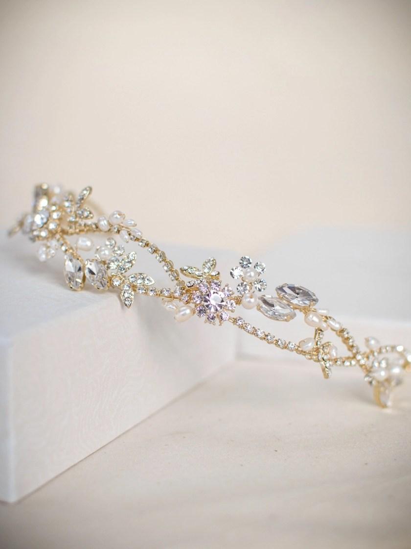 TLT4666 – Light gold tiara with freshwater pearls & diamantes (2)