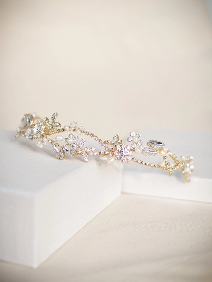 TLT4666 – Light gold headband for brides with freshwater pearls & diamantes