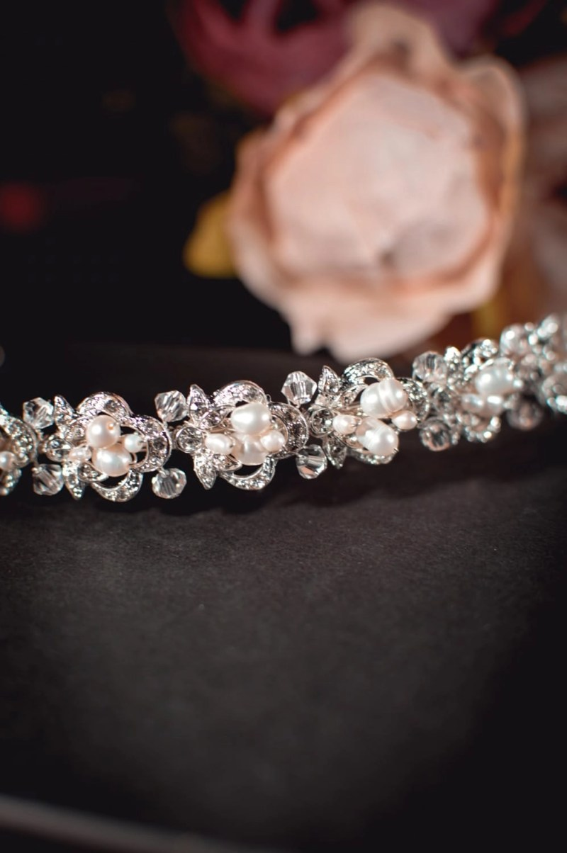 Alice - classic pearl, crystal & diamante bridal headband closeup TLT4515
