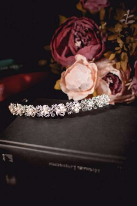 Alice - classic pearl, crystal & diamante bridal headband on books TLT4515