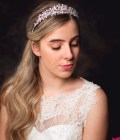 Anne - silver crystal & pearl bridal tiara on model bride main