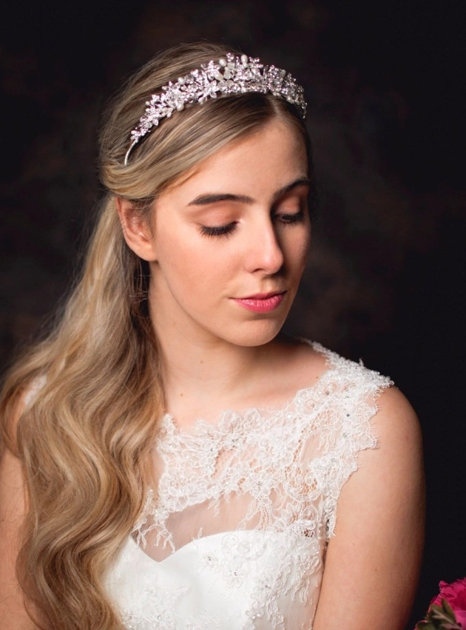 Anne - silver crystal & pearl bridal tiara on model bride main