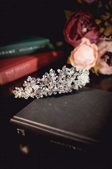 Elsa - tall regal tiara with clusters of crystals on books