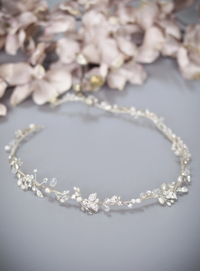 Halo TLH3124 silver diamante and pearl bridal hair vine 60cm long