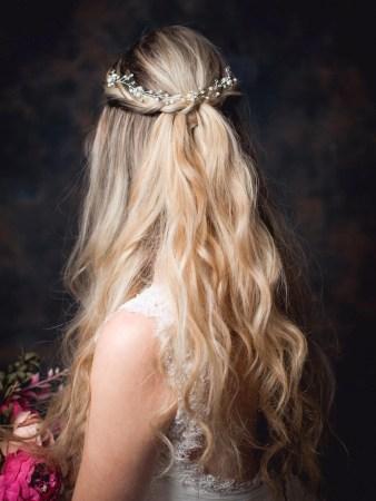 Luna - delicate diamante & crystal hair vine on a model bride TLH3155