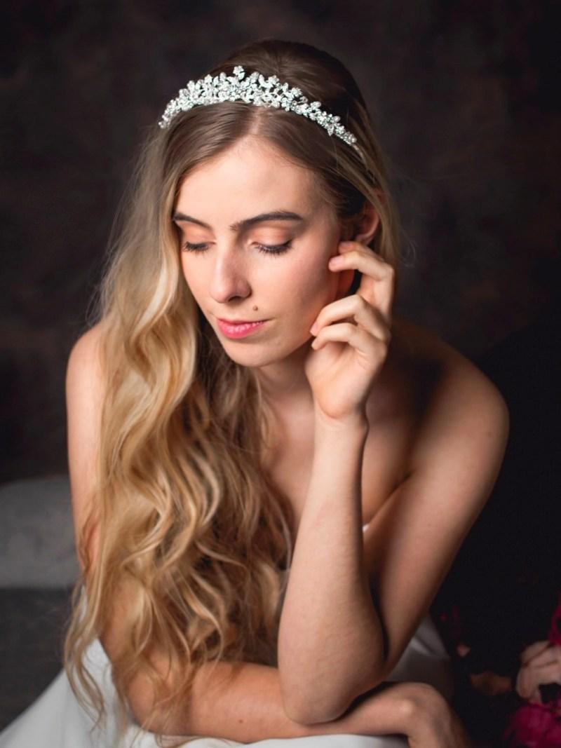 Rosalind - Classic bridal tiara with crystals & pearls on a model bride tlt4504 (5)