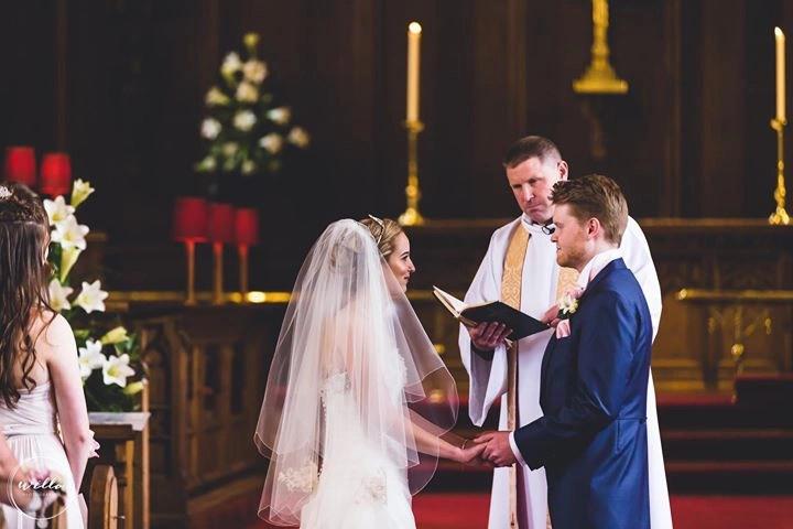 """Real bride Bekah wears our pretty """"Cassandra"""" lace applique hip length veil"""