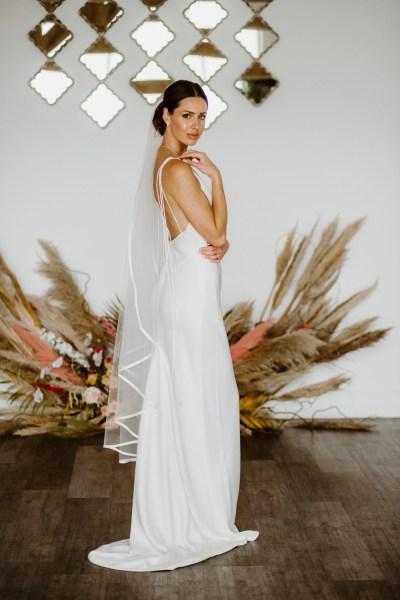 Camilla - single layer waltz length waterfall cut veil with satin edging