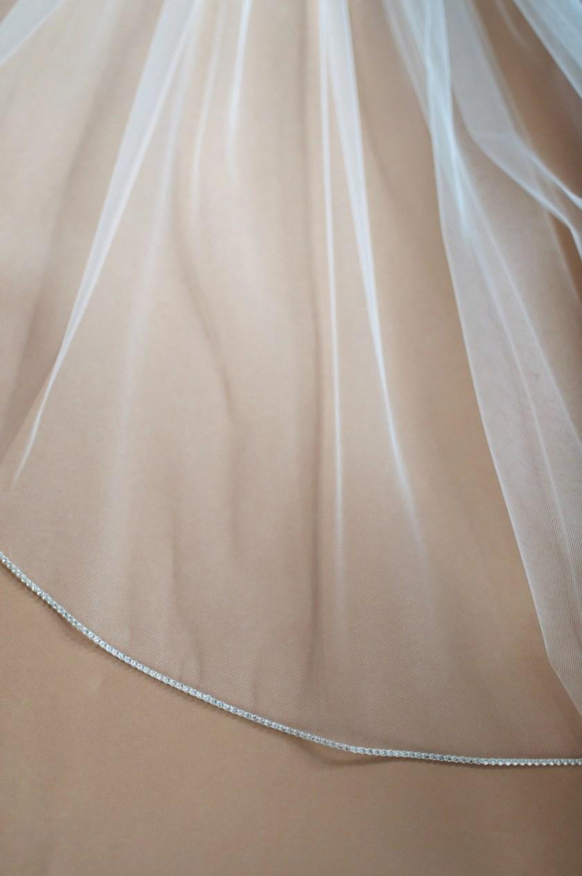 Sophia diamante beaded edge veil closeup