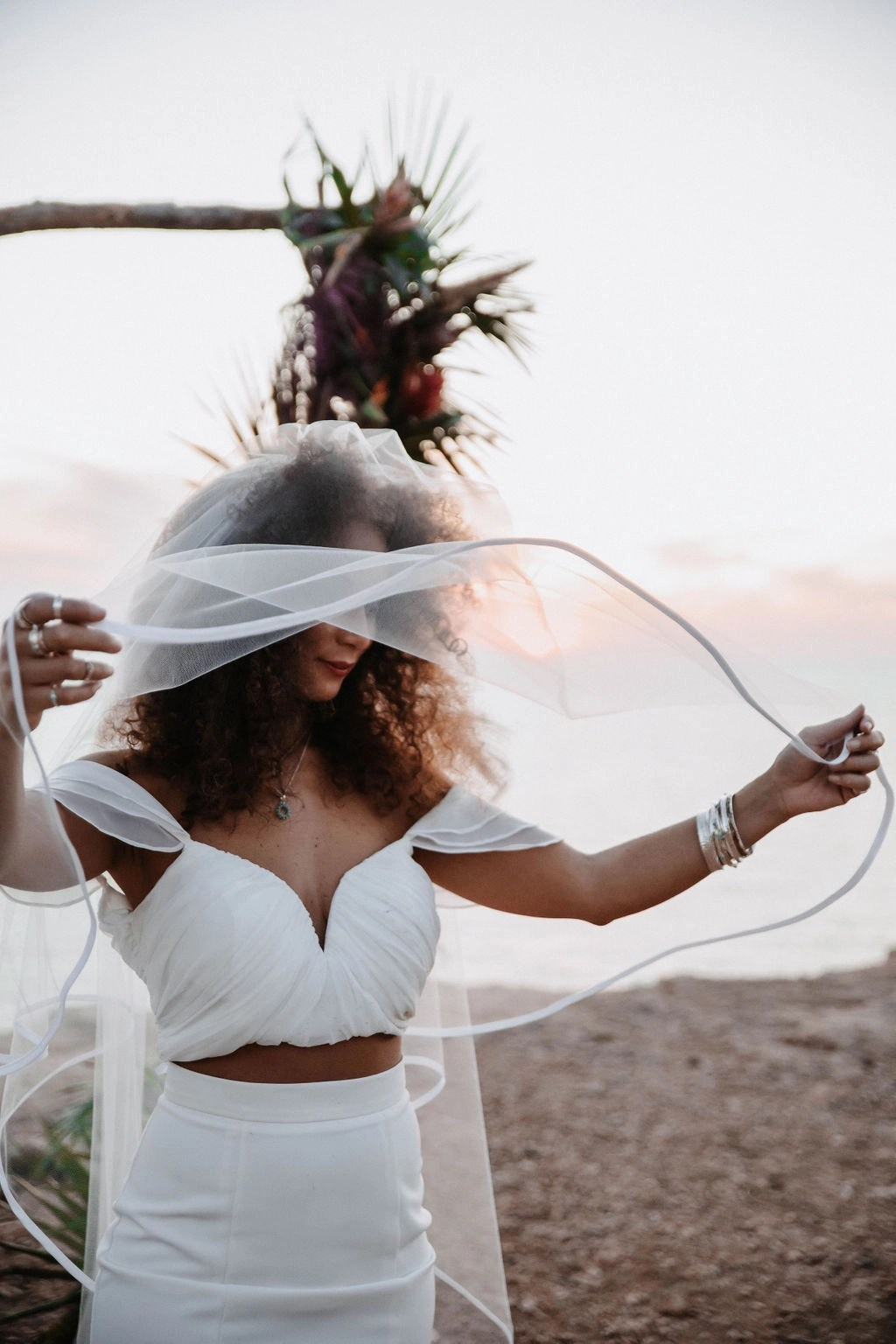 Ibiza at Sunset Black bride with hair down with veil long chapel satin edge (7)