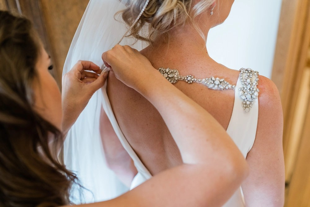 ivory crystal edged veil on real bride Roh