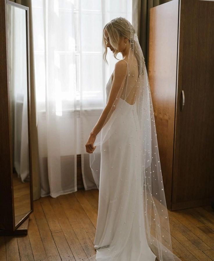 Custom chapel length Violet pearl veil on real bride Phoebe 3