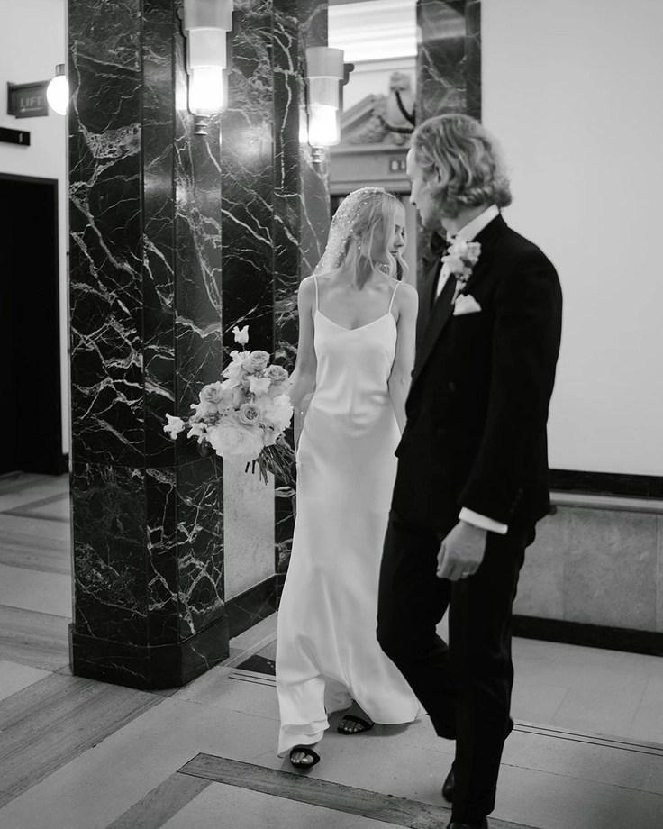 Custom chapel length Violet pearl veil on real bride Phoebe 4