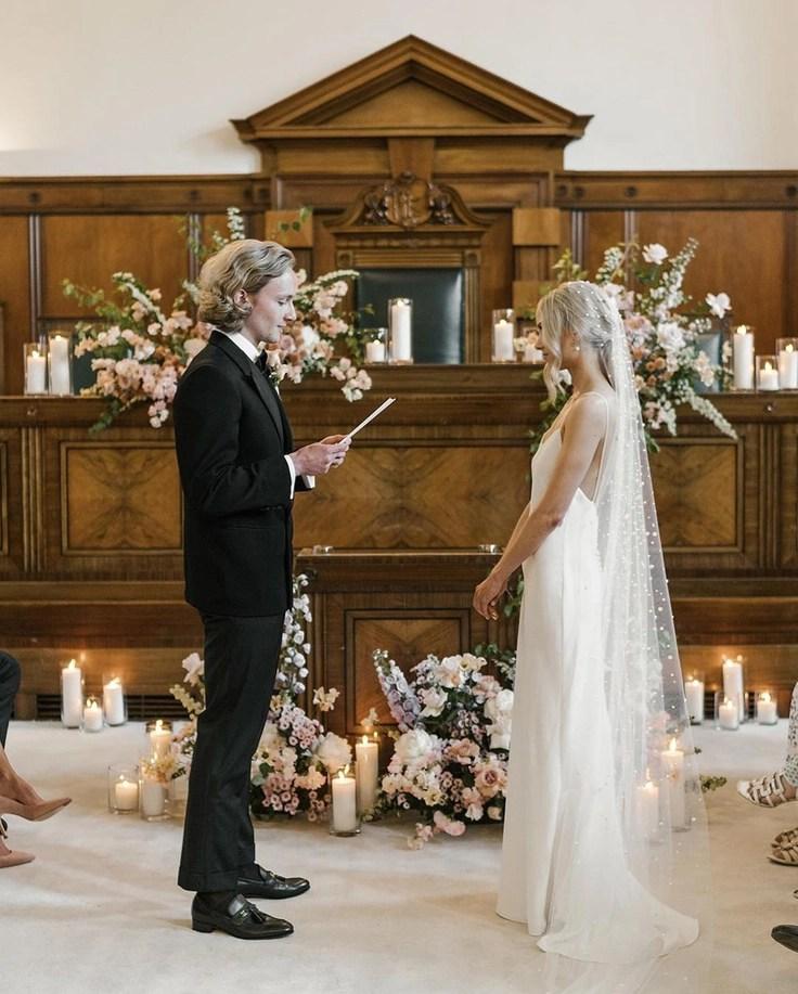 Custom chapel length Violet pearl veil on real bride Phoebe 7