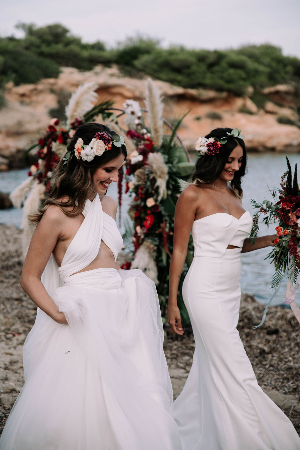 Two brides - love is love shoot - cathedral veil with lace - iniza destination wedding inspiration (125)