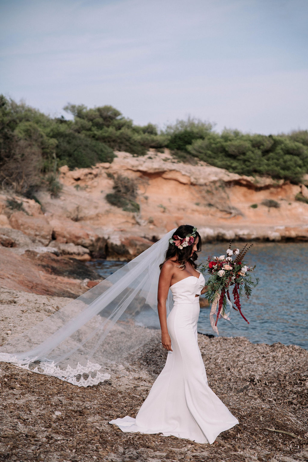 Cathedral lace veil beach wedding