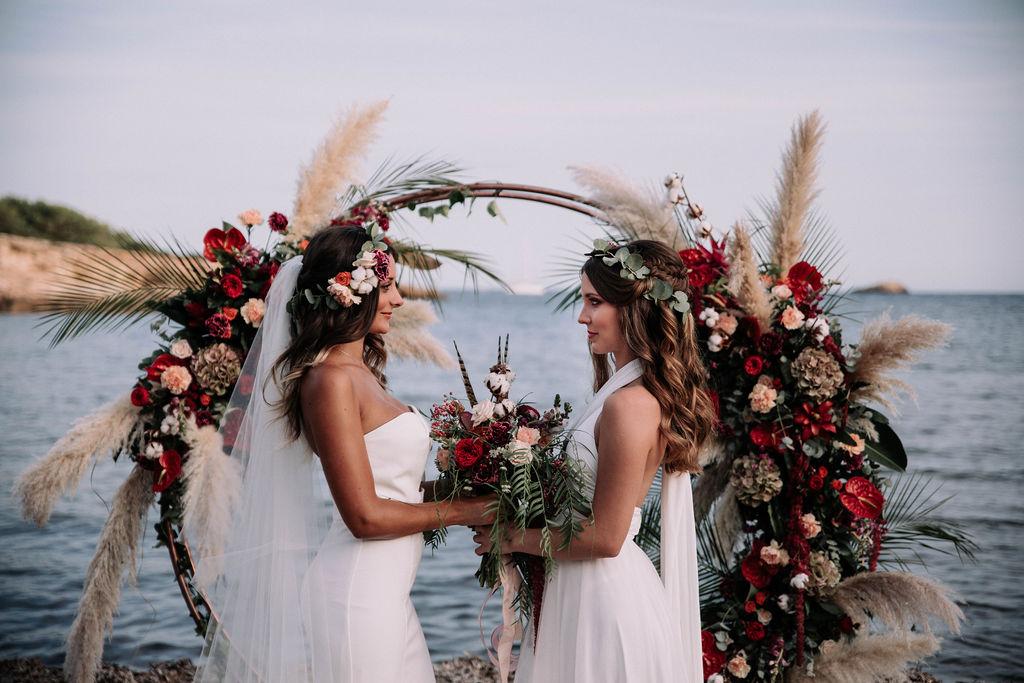 Gay destination wedding, two brides, lesbian, veil, Ibiza