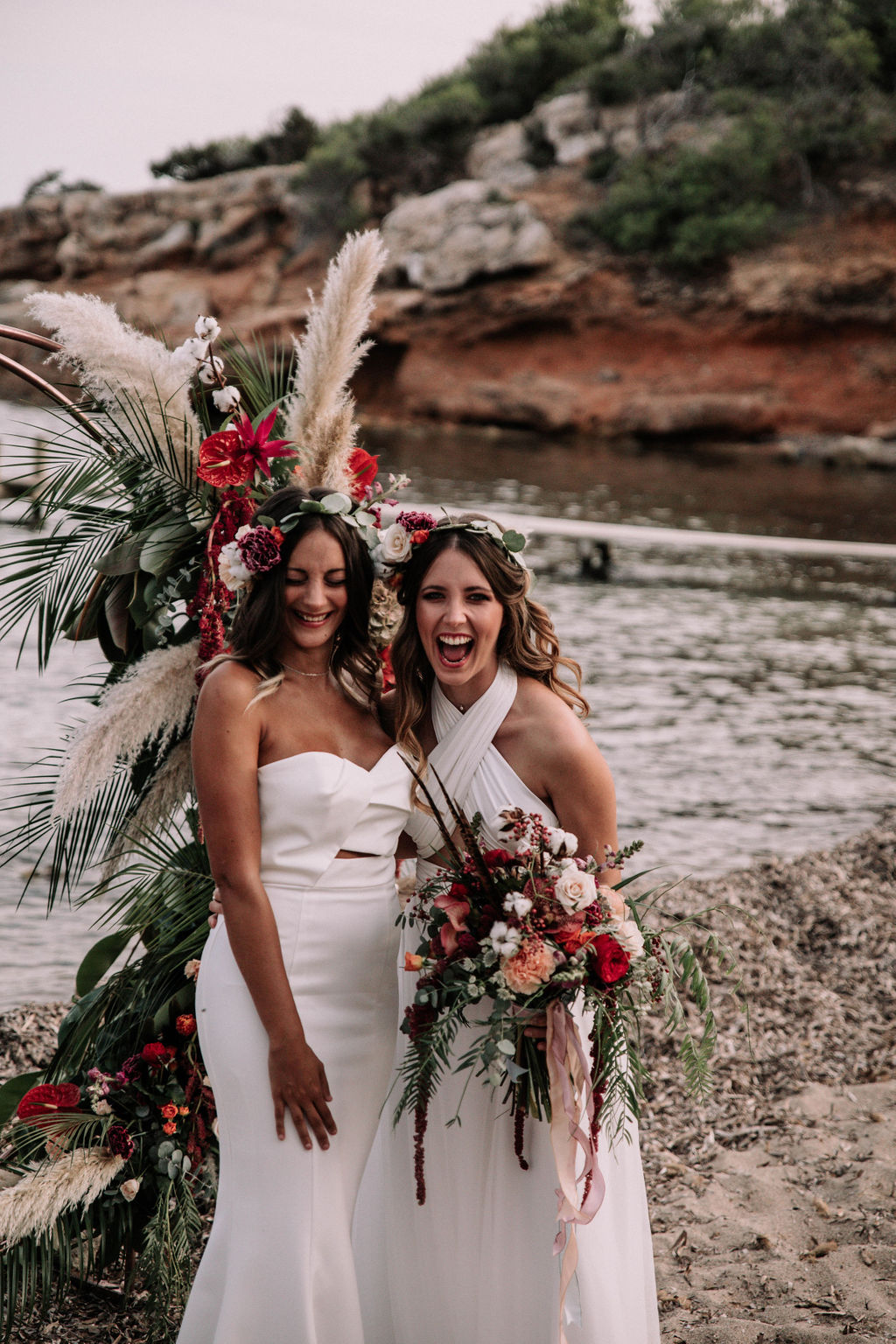 Two brides - love is love shoot - cathedral veil with lace - iniza destination wedding inspiration (85)Two brides - love is love shoot - cathedral veil with lace - iniza destination wedding inspiration (85)
