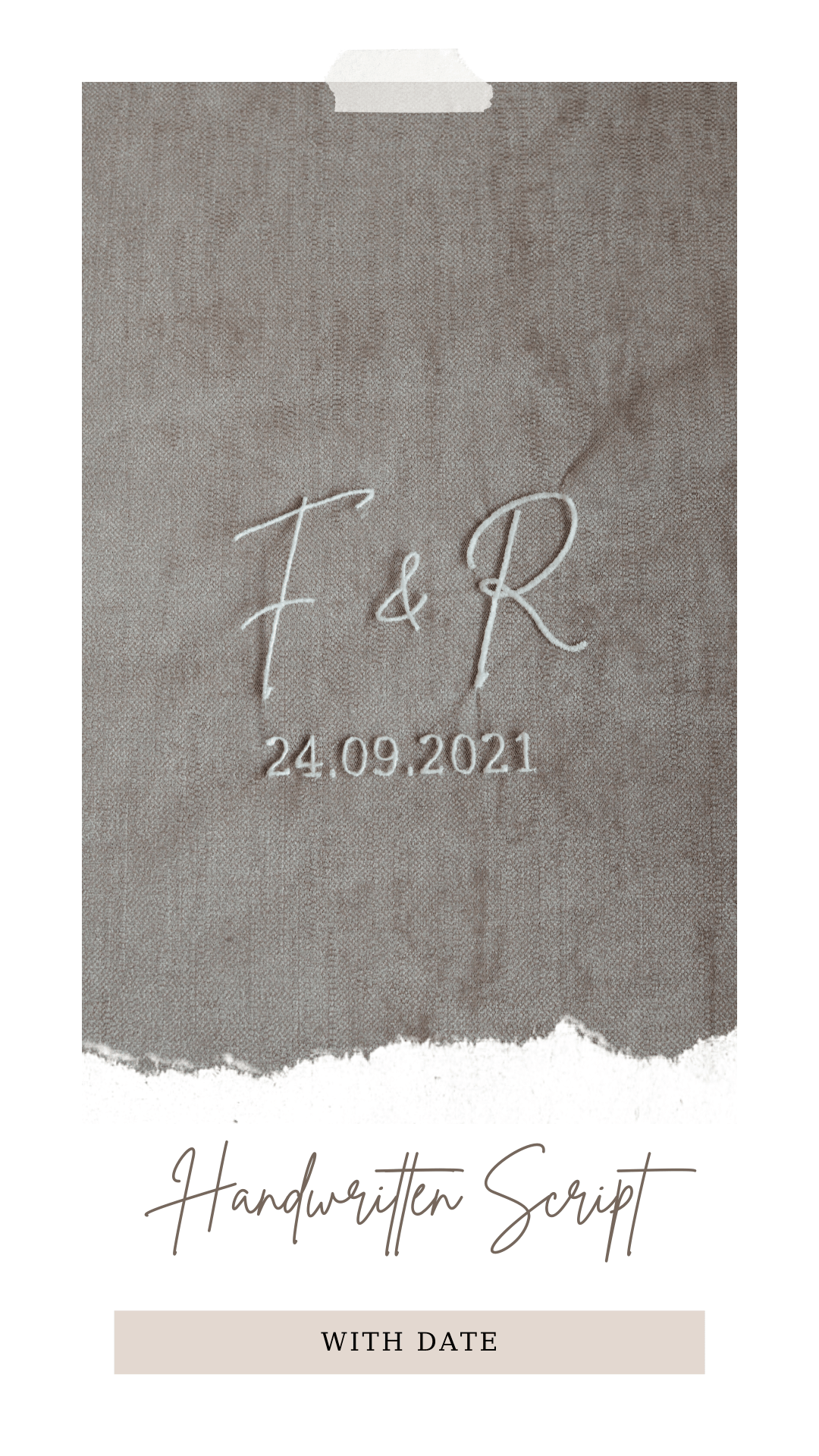 Personalised veil embroidery - monogram - handwritten script font with date