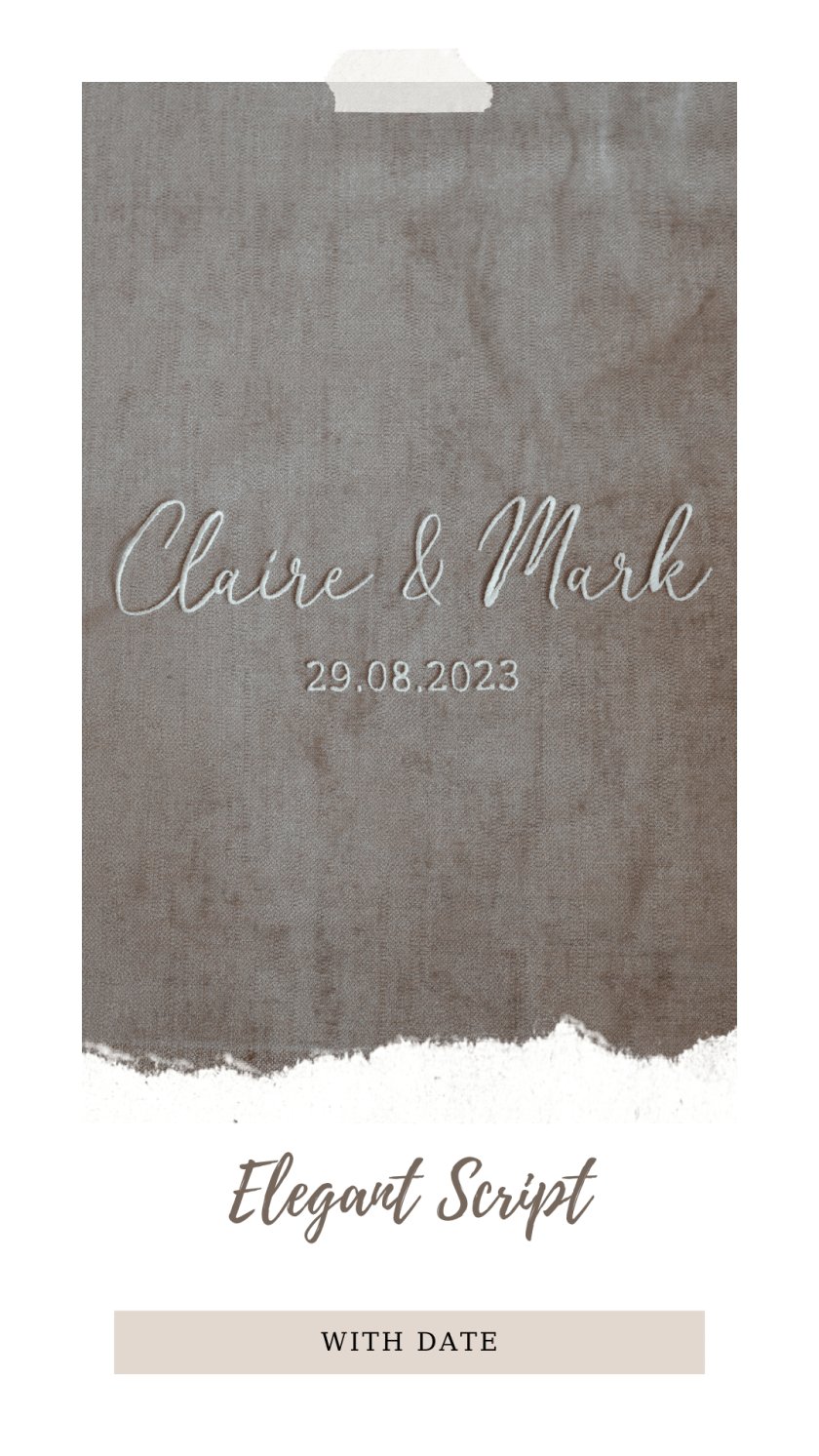 Personalised veil embroidery - names text - elegant font with date
