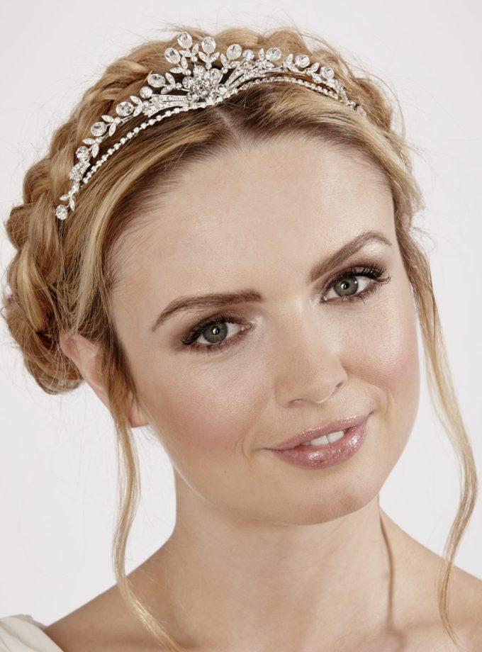 lt611 wedding tiara on blonde bride