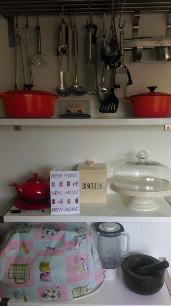 I barely had a bed to sleep in but at least my kitchen storage was organised. #priorities