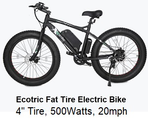 Ecotric Fat Tire ebike, 500w, 20mph