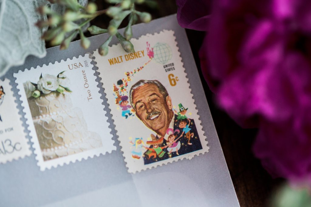 wedding stamps, wedding invitations, walt disney stamp