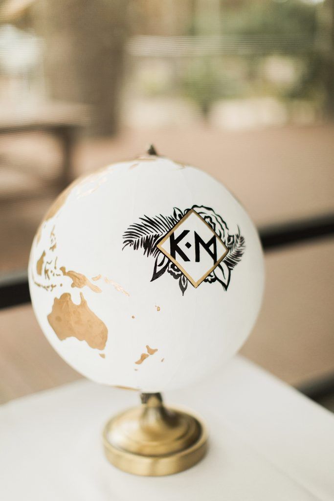 wedding details, custom globe, hand painted globe