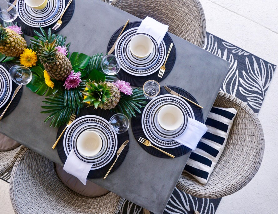 Tropical table set up, outdoor oasis, outdoor dining