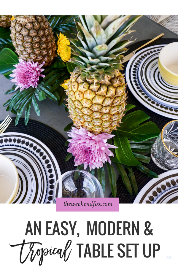 An Easy, Modern & Tropical Table Set Up // tropical table setting, bridal shower theme, baby shower theme, tropical theme, modern and tropical table, bridal shower inspiration #tropical #lifestyleblog