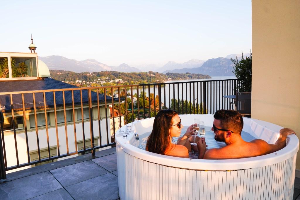 Art Deco Hotel Montana in Lucerne, Switzerland. View from jacuzzi in Junior Corner Suite.