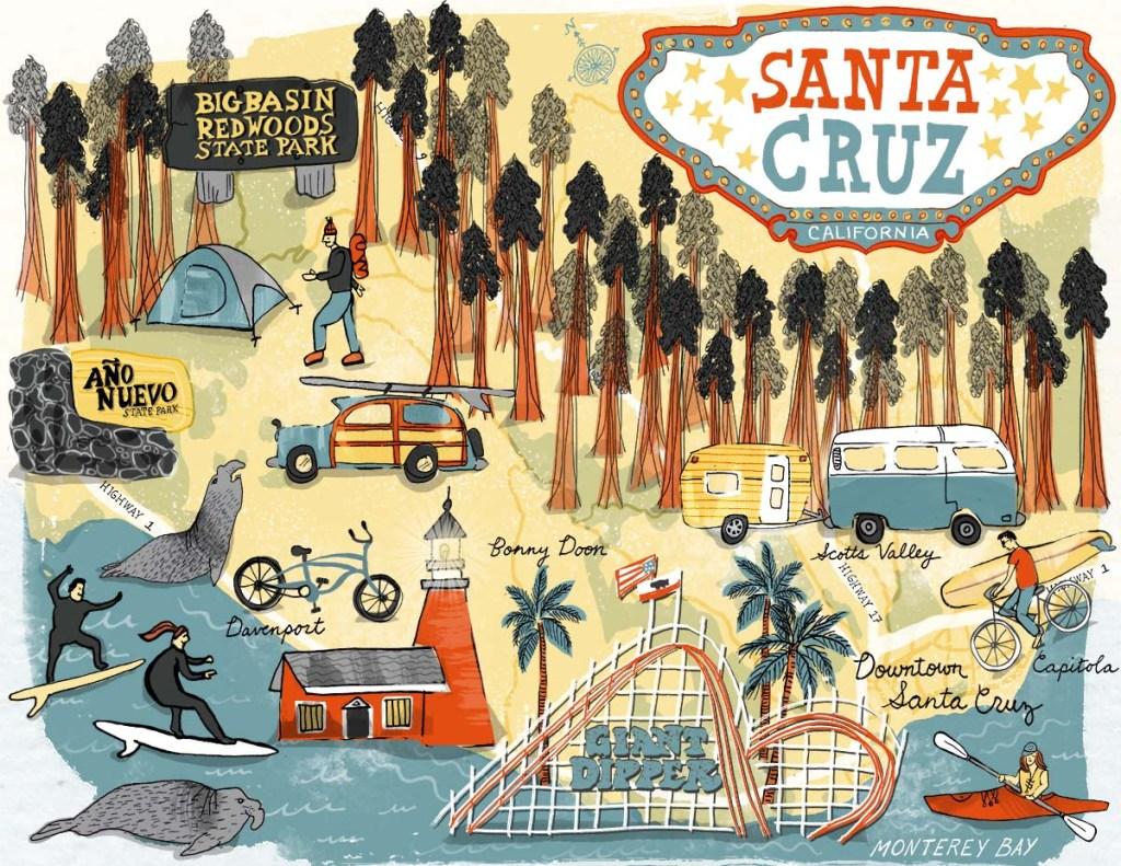 10 Fun Things To Do in Santa Cruz - illustrated map by Shoshannah Hausmann