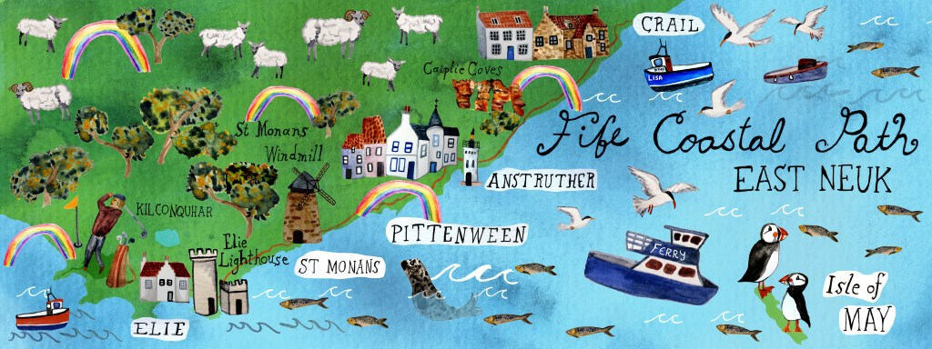 The Fife Coastal Path starts north of Edinburgh at the Firth of Forth and ends at the Firth of Tay. You can walk the entire 117 mile distance or just stroll a small portion. Fife Coastal Path, Scotland - artwork by Shoshannah Hausmann