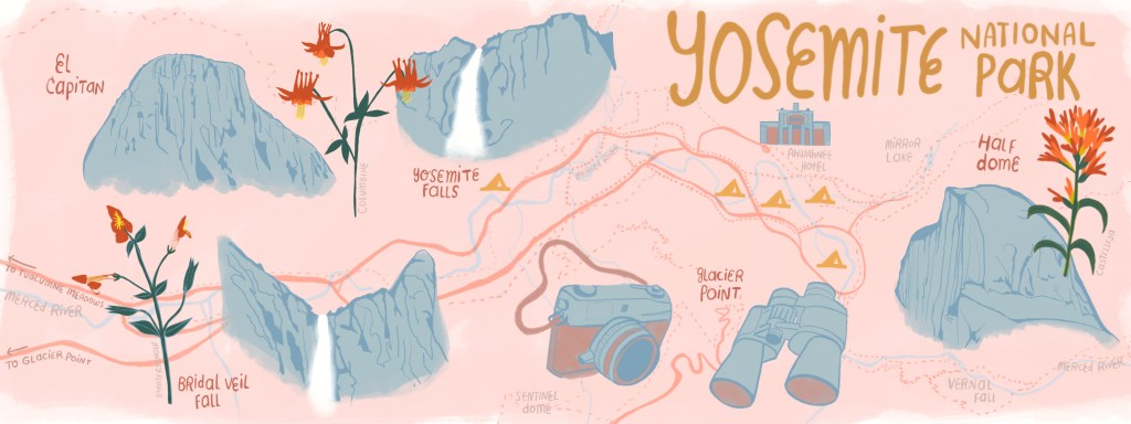 Yosemite National Park Illustrated Map by Shoshannah Scribbles