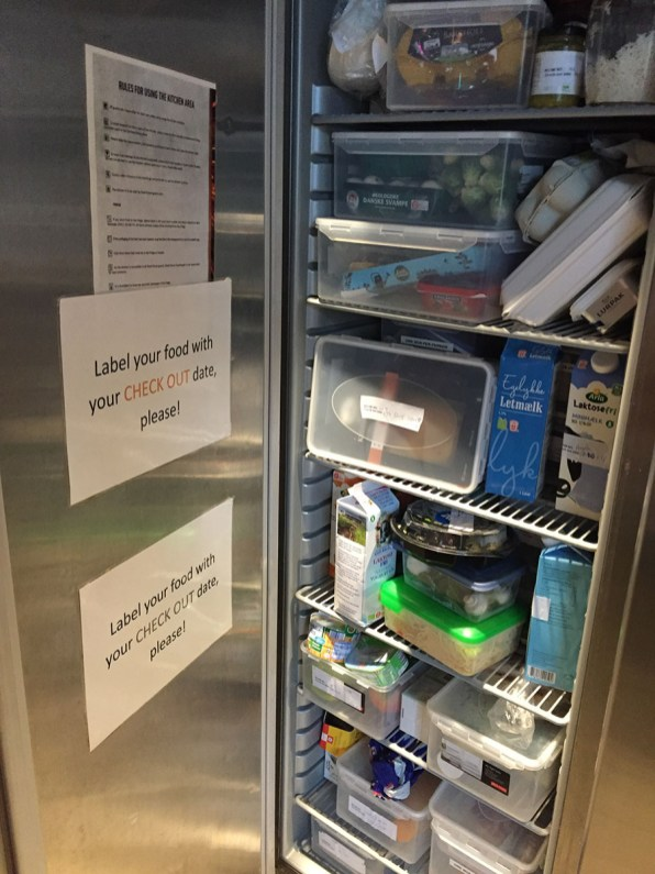 Steel House Hostel Copenhagen Review: shared fridge