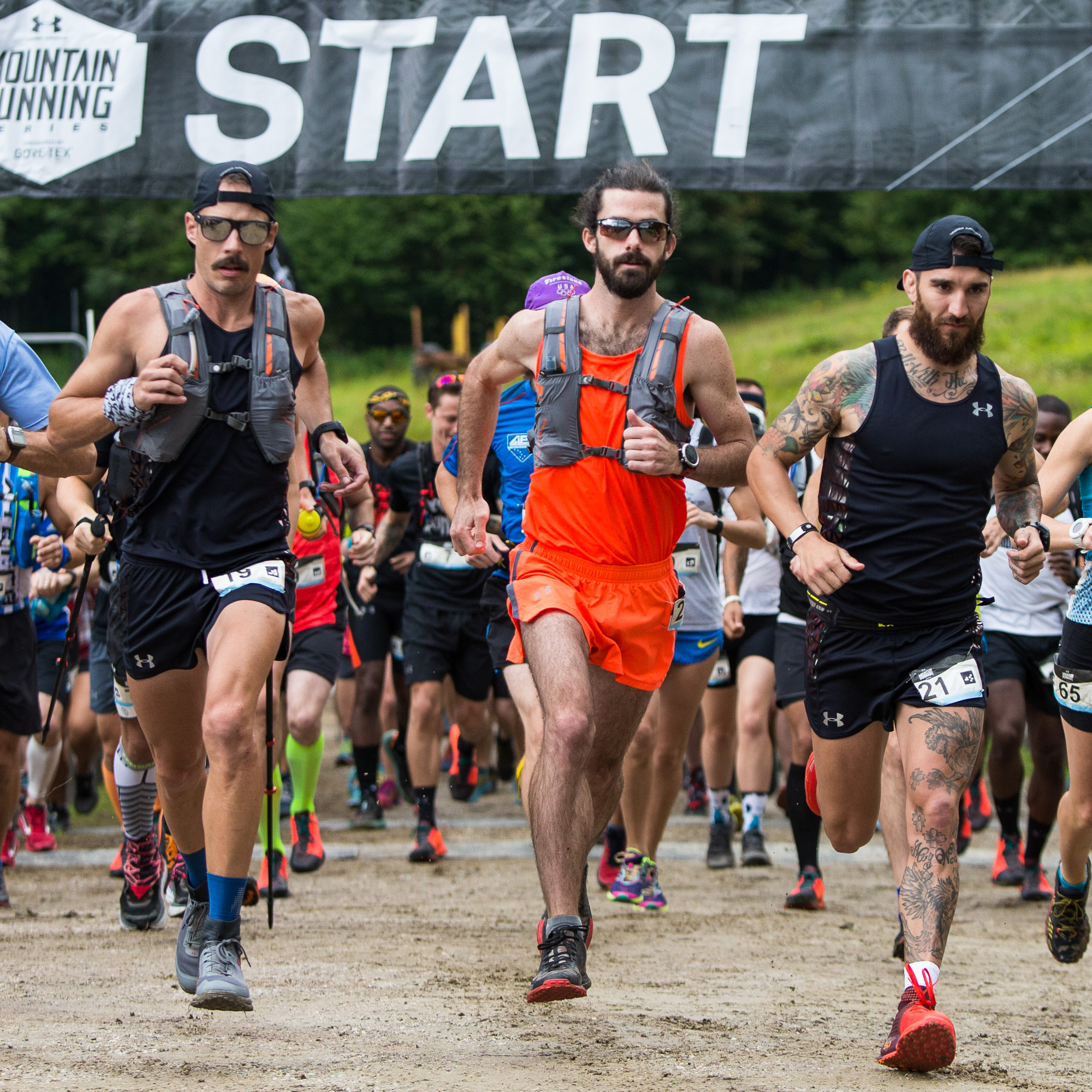 Brian Tolbert, Cody Reed, Kyle Dietz UA Trail team 50K start