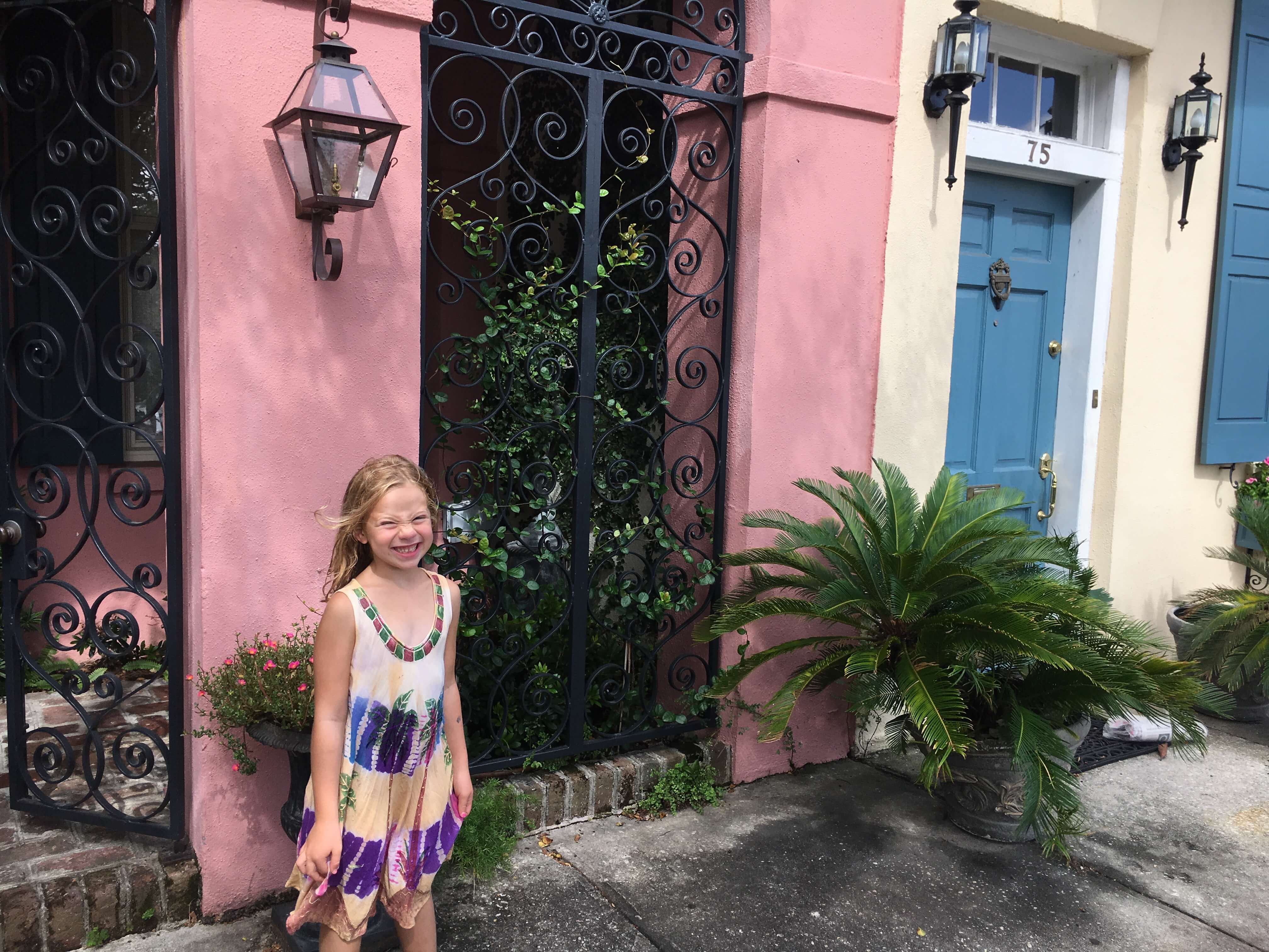 rainbow row French Quarter charleston with kids