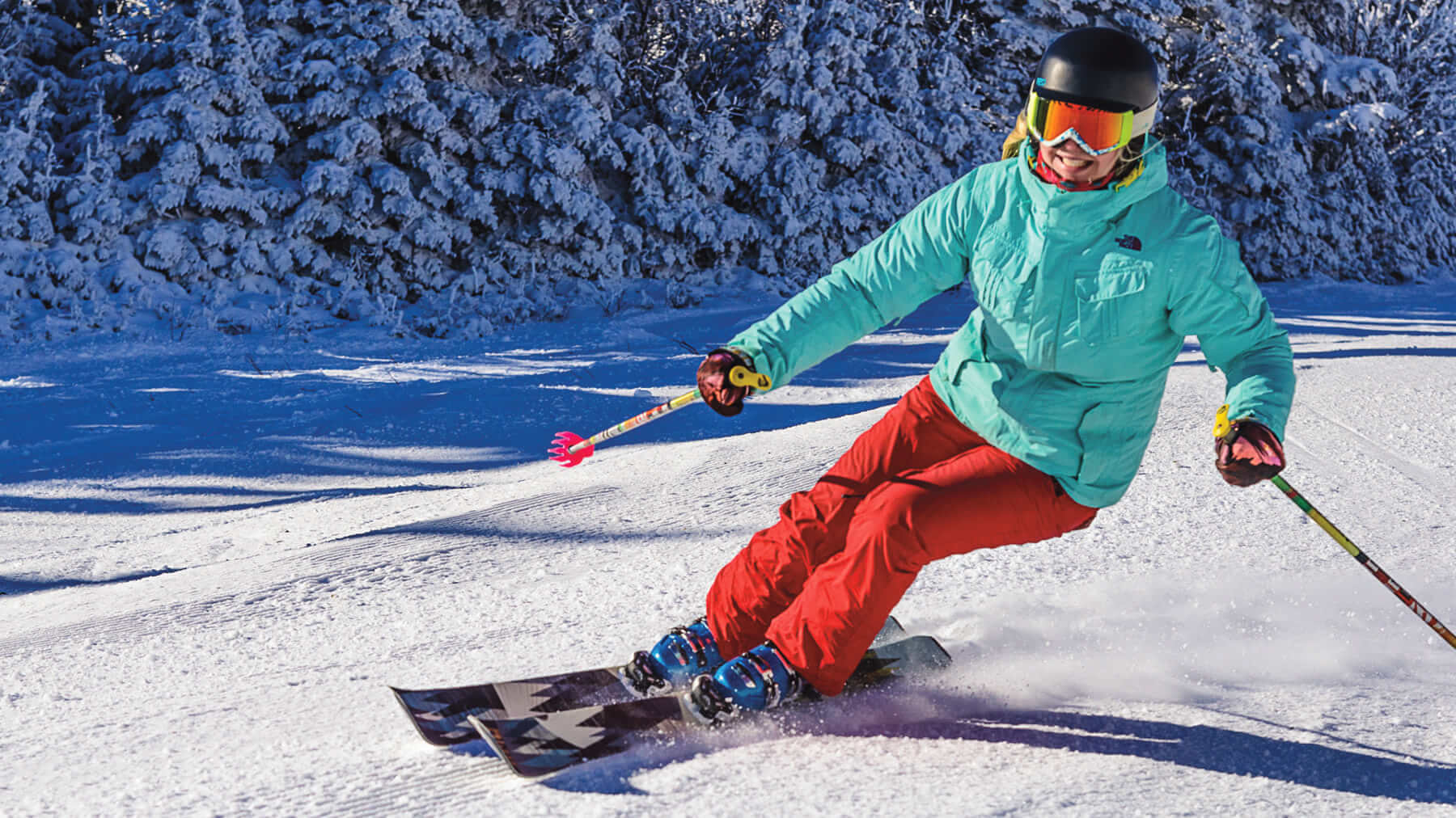 women on snow at stratrt