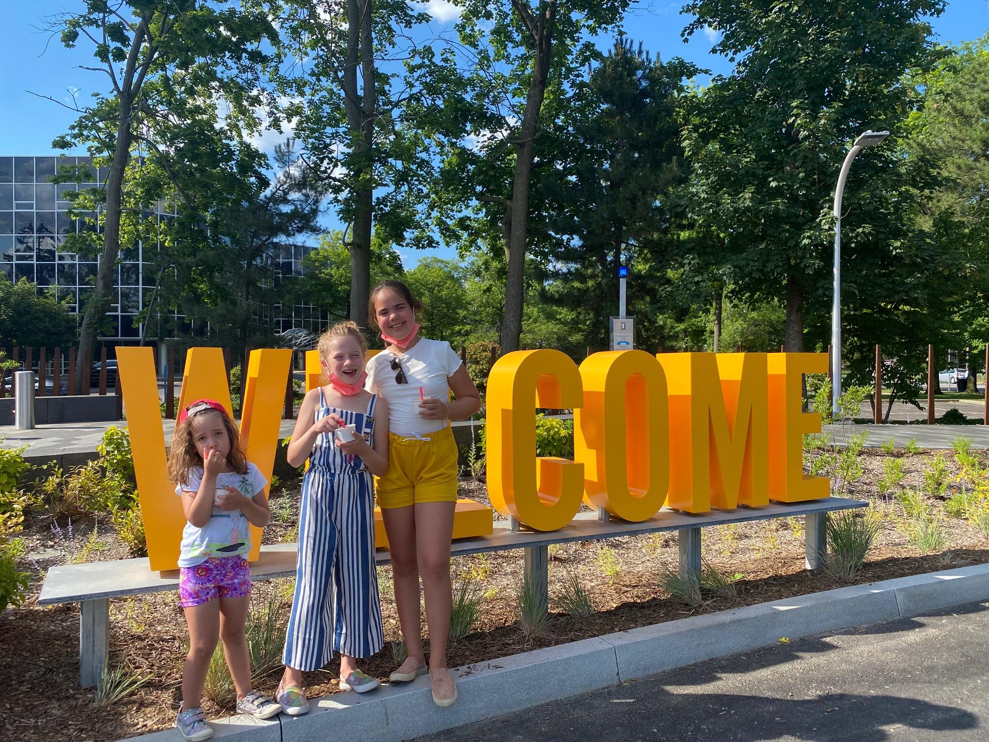Governor Mario M. Cuomo Bridge Path welcome sign on Tarrytown