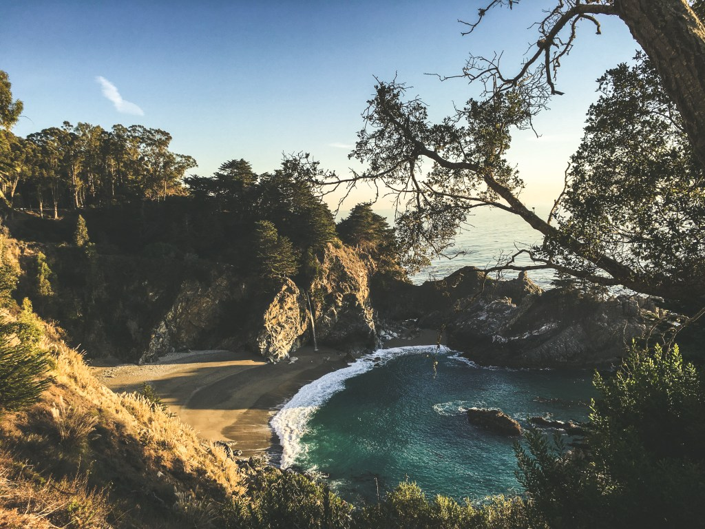 Waterfall on the beach in Big Sur, CA | TheWeekendJetsetter.com