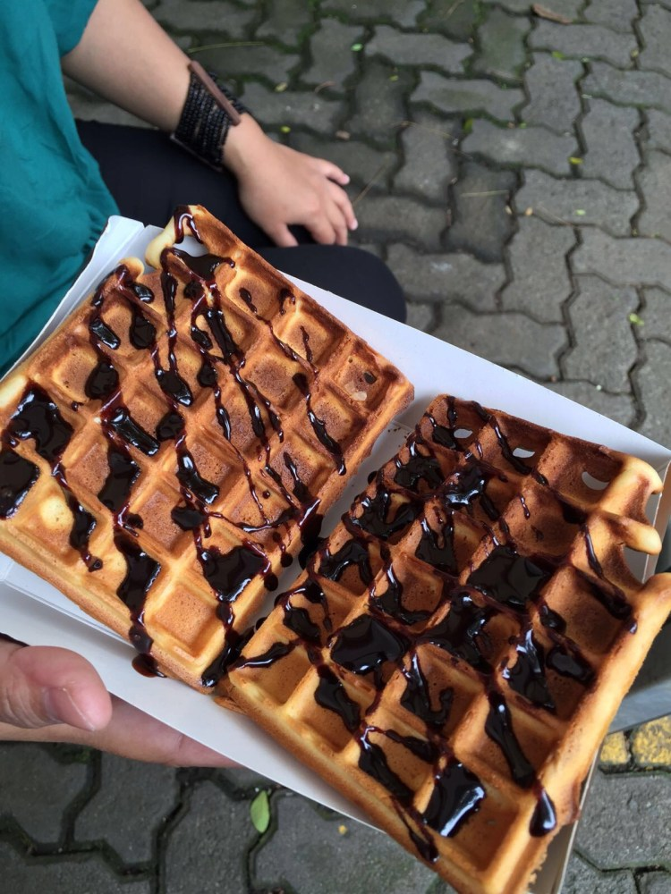 Waffles with chocolate drizzle, spotted in the wild!