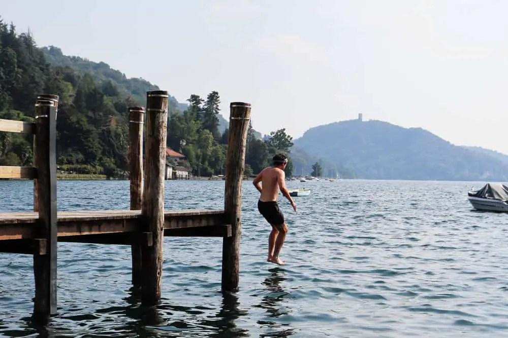 Jumping into Lago Orta