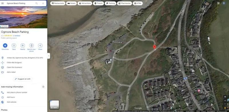 google satellite view of Ogmore Beach Carpark