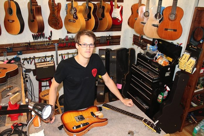 When he's not performing live or recording, Topher James offers repair work at the Grateful Guitar.
