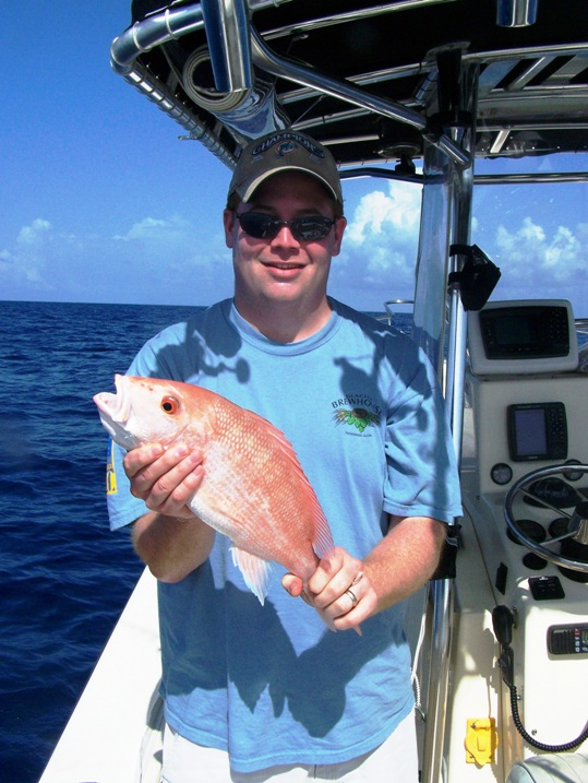 Brian Varani of Falls Church VA caught this red snapper while fishing in 125 feet of water with Capt. Chris Johnson and SeaSquared Charters out of 7 Mile Marina. The fish was released unharmed. Brian also caught keeper mutton and lane snapper, a nice 20lb. amberjack and jack crevalle