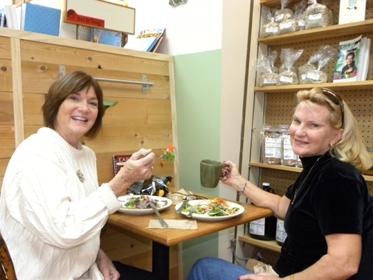 Longtime friends Sandra Bradshaw and Jackie McGuire caught up over a couple of Asian Salads at the newly opened Food for Though Café in Gulfside Village