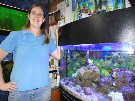 """""""Right after I spoke with you someone called wanting to know if we wanted to buy a Lionfish he found! We're can't. We're not licensed to accept local fish. They have to be purchased from a retailer on the mainland."""" Pampered Pet assistant manager chats with The Weekly in front of a 47-gallon saltwater tank"""